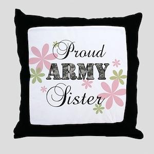 Army Sister [fl camo] Throw Pillow